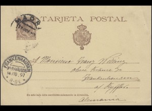 Spanien Postkarte P 27I König Alfons, MADRID 11.10. nach FRANKENHAUSEN 14.10.97