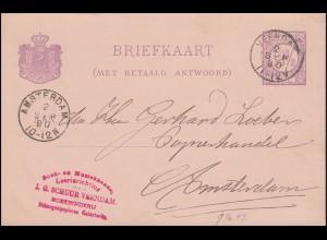 Niederlande P 14F Ziffer im Kreis von VEENDAM 2.9.1890 nach AMSTERDAM 2.9.90
