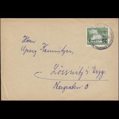 449 Hochwasserhilfe 1955 als EF auf Brief SSt TREUEN Pfingsten Festwoche 24.4.56