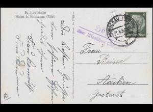 12 Freimarke 84 Pf mit Wappen 1+8+15 Pf R-Bf. KONSTANZ 3.11.47 n. Apolda 9.11.47