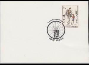 Belgien SSt Radrennen Büssel - Nordkapp mit 1807 Schule auf Karte BRÜSSEL 4.7.75
