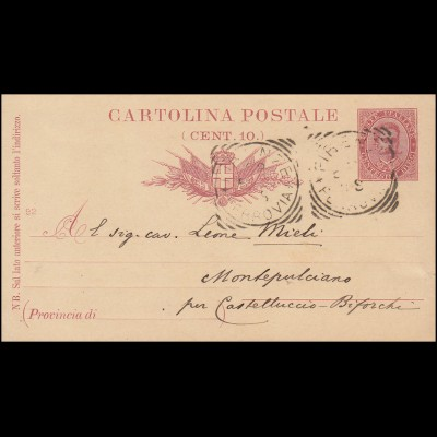 Italien Postkarte P 22 Druckjahr 92 von FIRENZE FLORENZ 1892 nach Montepulciano