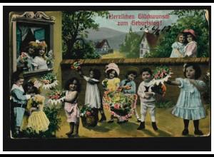 Sao Tome und Principe:Gemälde Kinder und Hunde, ZD-5er-Streifen GESCHNITTEN**