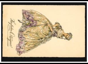 AK Ostern: Barock-Mode Frau in langem Kleid, beschriftet 1923