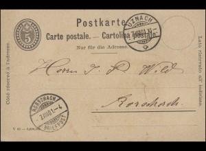 Schweiz Postkarte P 26 Ziffer 5 C mit DV von UZNACH 7.8.1901 nach RORSCHACH 7.8.