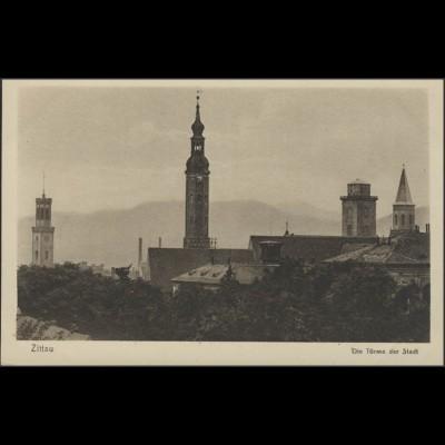 Ansichtskarte Zittau: Türme der Stadt, ungebraucht