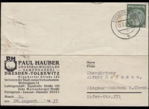 Bestellung Erdbeerpflanzen auf Postkarte Samenhandel Hauber DRESDEN 28.8.1937