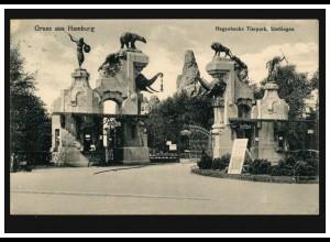 AK Gruss aus Hamburg: Hagenbecks Tierpark Stellingen, 17.7.1913 nach Friedenau