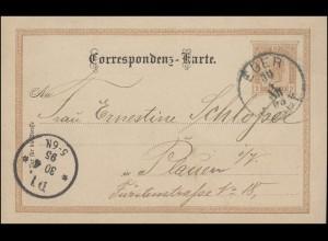 Österreich Postkarte P 74 Kaiser Franz Joseph EGER STADT 30.4.95 nach PLAUEN