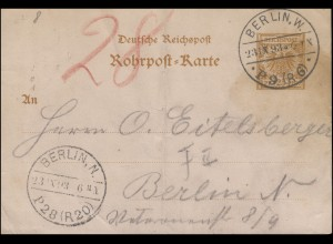 Rohrpost-Karte RP 8 Adler 25 Pf. BERLIN P9 (R6) 23.9.1893 nach BERLIN P28 (R20)
