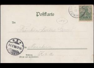 Preußen Umschlag 2 Silbergroschen blau, Rahmenstempel HALLE BAHNHOF 16.11.