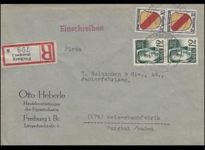 4 Freimarke 12Pf 2mal mit Wappen 30 Pf 2mal auf R-Bf FREIBURG/BREISGAU 10.6.1947