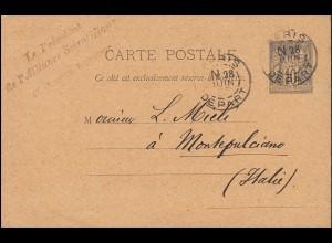 Frankreich Postkarte P 8 Handel und Frieden PARIS 28.6.1892 nach Montepulciano
