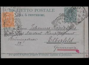 Italien Kartenbrief K 4 mit Zusatzfrankatur NAPOLI 9.11.1892 n. ELBERFELD 11.11.