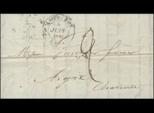 Frankreich Vorphilatelie Faltbrief Angoulême 5.6.1841 nach Aigre 7.6.1841