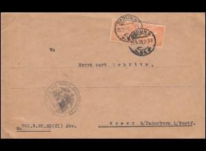 20 Dienstmarke als MeF auf Brief Kriegsministerium BERLIN 25.9.1920 nach Wewer