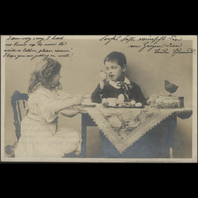 Ansichtskarte Ostergrüße: Kinder beim Osterei-Frühstück, Hamburg 2.4.1904