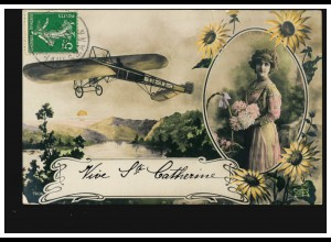 Frankreich Ansichtskarte Vornamen: Catherine, gelaufen 1911, leichte Büge