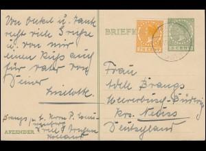 Niederlande Postkarte P 181 Wilhelmine 5 C. DRIEL (OVERBETUWE) 6.7.1927