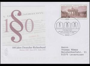 USo 174 Deutscher Richterbund, FDC Erstverwendung Bonn Richterroben 2.1.2009