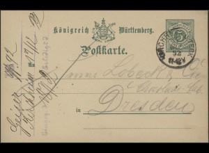 Württemberg Postkarte Ziffer 5 Pf. grün Kirchheim unter Teck 17.12.92 n. Dresden