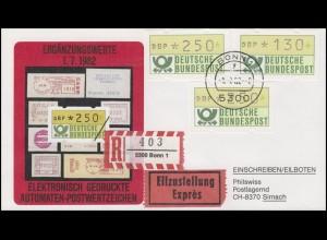 1.1. hu ATM-Ergänzungswerte 130 Pf / 2x250 Pf auf Schmuck-Eil-R-FDC BONN 1.7.82
