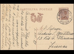 Italien Postkarte P 70 Doppelwappen 30 Cmi. BOSCOLUNGO PISTOIA 2.8.1929