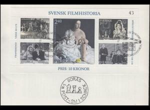 Schweden: Block Geschichte des schwedischen Films 1981, FDC Stockholm 10.10.81