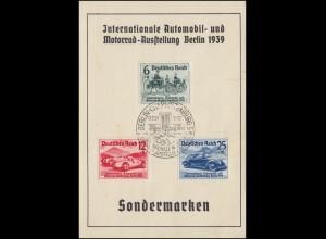 686-688 IAA Berlin 1939 auf Gedenkblatt Dresdner Bank ESSt Berlin-Charl. 17.2.39