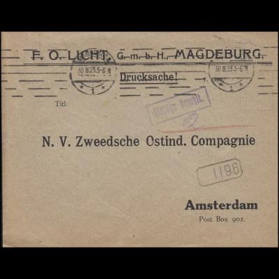 Gebühr-bezahlt-Stempel Drucksache Magdeburg 30.8.23 n. Amsterdam & Stempel 1196