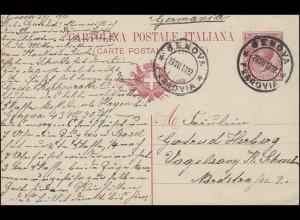 Italien Postkarte P 41 König Viktor mit Druckjahr 09, GENOVA / GENUA 29.7.1910