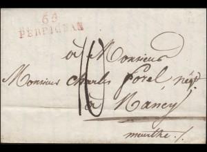 Frankreich Vorphilatelie Brief Zweizeiler 65 PERPIGNAN nach Nancy