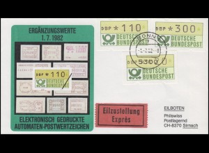1.1. hu ATM-Ergänzungswerte 20 / 110 / 300 Pf Pf auf Schmuck-Eil-FDC BONN 1.7.82