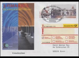 USo 27 OHABRIA Blankenburg/Harz, R-Brief SSt Blankenburg Ausstellung 19.5.2001