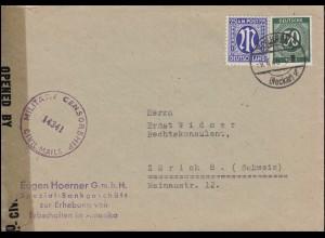 Zensur 14341 Brief mit 13 AM-Post und 932 Gemeinschaft MiF HEILBRONN 9.4.1946