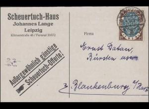 108 Nationalversammlung 15 Pf. EF Drucksache LEIPZIG 3a - 22.4.21 n. Blankenburg