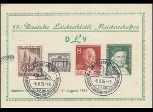 Karte 55. Deutsche Leichtathletik Meisterschaften, SSt FRANKFURT 6.8.55