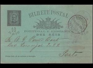 Portugal Postkarte P 24 Carlos I. 10 R schwarz von PENAFIEL 21.4.1896 nach Porto