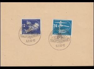 246-247 Wintersport 1950 auf Blanko-Karte mit SSt LEIPZIG MM-Hauptbahnhof 6.3.50