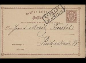 Postkarte P 1 Adler 1/2 Gr Rahmen-O MEERANE IN SACHSEN 30.11.74 nach Reichenbach