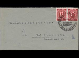 Gemeinschaft 919 Ziffern 12 Pf rot MeF Brief SSt SAALEFELD Feengrotten 18.3.46