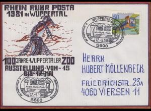 RRP Wuppertaler Schwebebahn selbstgemalter Brief SSt Schachmotivsammler 17.5.81