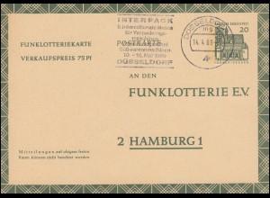 Funklotterie-Postkarte FP 12 Werbestempel INTERPACK DÜSSELDORF 14.4.69
