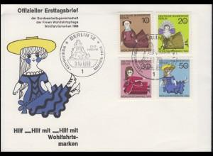 322-325 Wofa: Historische Puppen, Satz auf Schmuck-FDC ESSt Berlin 3.10.1968