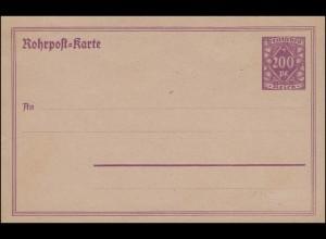 Rohrpost-Karte RP 21 Große Ziffer in Raute 200 Pf. lila, ungebraucht **