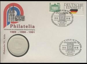 Porzellanbrief Philatelia Köln 25.10.1991