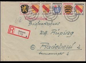 2+4+7+8+10 Freimarken Wappen MiF R-Brief ROTTWEIL 24.11.46 nach RADEBEUL 16.12.