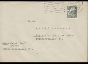 413 Fünfjahrplan 20 Pf Buchdruck EF auf Brief ERFURT 31.1.55 nach Frankfurt/Main