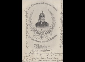 Ansichtskarte 100. Geburtstag Heldenkaiser Wilhelm I., AACHEN 15.3.1897