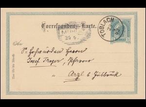 Österreich Postkarte P 130 TOBLACH 23.4.19003 n. MÜHLAU 24.4. bei Arzl/Innsbruck